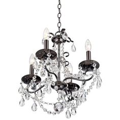 Vienna Full Spectrum Crystal 4-Light Black Nickel Chandelier