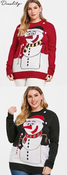 07c70e07174 Christmas Plus Size Cartoon Snowman Print Sweater.  dresslily  uglysweater   christmas Ugly Sweater