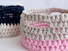 How to make a DIY Crocheted Basket - neat step-by-step tutorial and easy to follow. These would make nice little gift baskets and you could fill them with homemade baked treats and give as gifts.