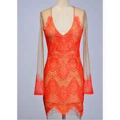 Beautiful Eyelash Lace Party Dress in Red Nude and Yellow (77 AUD) ❤ liked on Polyvore
