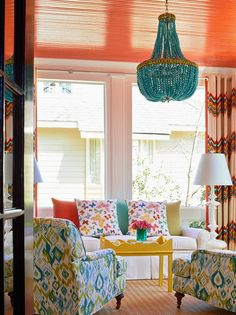 Holly Hollingsworth Phillips - Design Chic - love the colors in this sunroom and the paint on the wood ceiling is fabulous!