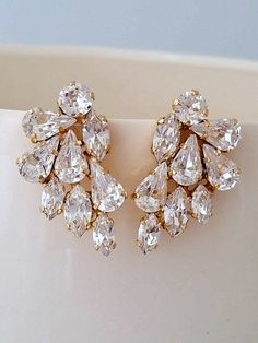 Clear crystal Statement stud earrings | Crystal bridal earrings by EldorTinaJewelry | http://etsy.me/20VMHQx