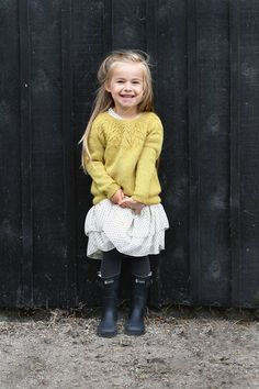 Ravelry: Aurora pattern by Sandnes Design Adorable little girls sweater! Kids Knitting Patterns, Knitting For Kids, Baby Patterns, Baby Sweaters, Girls Sweaters, Baby Girl Fashion, Fashion Kids, Knit Crochet, Kids Outfits