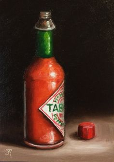 Hot stuff tabasco sauce original oil painting by JanePalmerArt