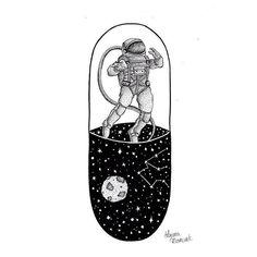 #Illustration #Drawing #Idea #Astronaut Illustrator, Sketch, Text, Tattoo - Photo by @blackworknow - Follow #extremegentleman for more pics like this!