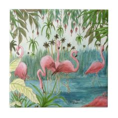 Pink Flamingo Haven Tropical Bird Art Cathy Peek Ceramic Tiles