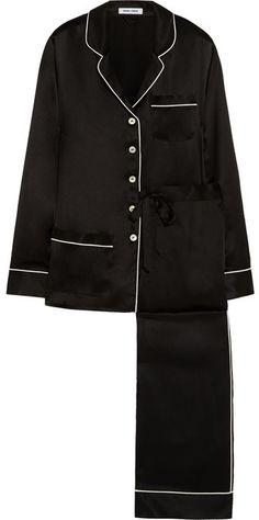 Luxurious Pajama Pant set in black with white trim