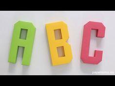 Cómo hacer letras 3D de papel o cartulina (Plantillas Abecedario A-Z) - YouTube