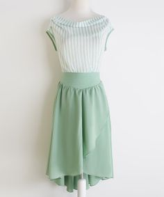 Look at this #zulilyfind! MINTYGOGO Green & White Stripe Boatneck Dress by MINTYGOGO #zulilyfinds