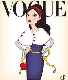 Snow white disney princess in vogue ! Inspiration theme : Dante Tyler #snowwhite #disney #vogue #princesses #cover #fashion #illustration #modern