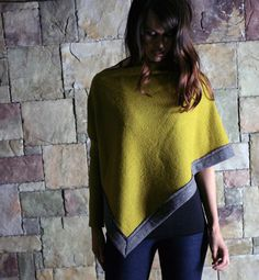 womens sweater poncho with asymmetrical sleeve made by sandmaiden