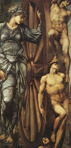 The Wheel of Fortune by Sir Edward Burne-Jones     This picture shows Fortune turning her wheel to which the figures of a slave, a king and a poet are bound.