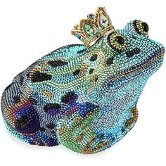 Judith Leiber Couture Crystal New Frog Prince Minaudiere ($5,995) ❤ liked on Polyvore featuring bags, handbags, clutches, accessories, metallic purse, beaded clutches, judith leiber minaudiere, colorful handbags and crystal clutches