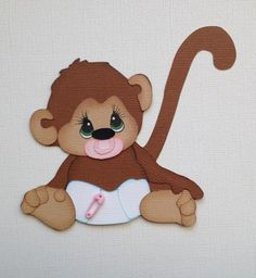 MADE TO ORDER  SCRAPBOOK PAPER PIECING  BABY GIRL  MONKEY BY MY TEAR BEARS