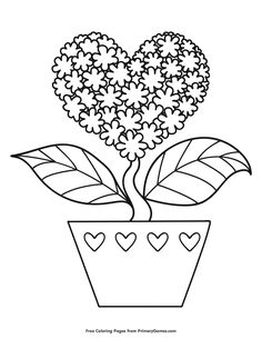 Free printable Valentine's Day Coloring Pages eBook for use in your classroom or home from PrimaryGames. Print and color this Heart Shaped Flower coloring page.