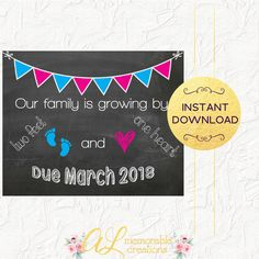 First Baby Pregnancy Announcement, Two Feet and One Heart, Expecting First Baby Sign, Due March 2018, Pregnancy Reveal, Instant Download by ALMemorableCreations on Etsy