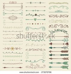 Set of Hand Drawn Colorful Doodle Design Elements. Decorative Floral Dividers, Arrows, Swirls, Scrolls. Vintage Vector Illustration.
