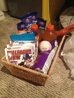 Good luck basket for baseball