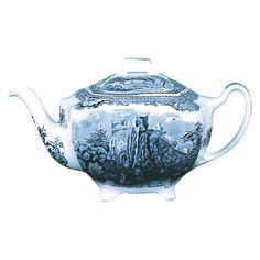 Blue and White Johnson Bros transferware Teapot Vintage English Fine China Teapot Timeless Gift Johnson Bros The Exeter Teapot