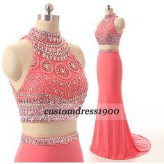 Handmade beading/crystal chiffon prom dress,long prom dress,bridesmaid... ($175) ❤ liked on Polyvore featuring dresses, prom dresses, pink chiffon dress, long red dress, red bridesmaid dresses and formal dresses