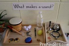 ideas could be extended for elementary children to talk about sound waves and how they work (add in tuning forks, etc.)Sound ideas could be extended for elementary children to talk about sound waves and how they work (add in tuning forks, etc. 5 Senses Activities, Preschool Science Activities, Science For Kids, Science Centers, Science Ideas, Preschool Music Activities, Five Senses Preschool, Preschool Plans, Summer Science
