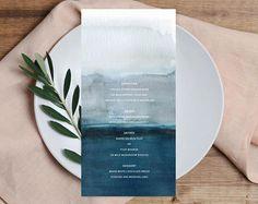 WATERCOLOR printable Wedding Menu blue agate Long Menu