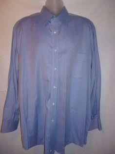 JOSEPH ABBOUD Mens Dress Shirt Blue Herringbone Cotton Long Sleeve 17.5 34-35 #JosephAbboud