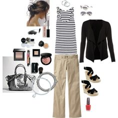 This would definitely be a no make-up outfit for me and I would change out the accessories and shoes.....