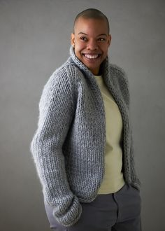 Brandi Cheyenne Harper For Purl Soho: Gentle Cardigan | Purl Soho Cardigan Pattern, Shrug Sweater, Sweater Patterns, Purl Soho, Fabric Yarn, How To Purl Knit, Knit Purl, Stockinette, Needles Sizes