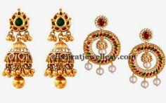 Jewellery Designs: Splendid Diamond  Chandbalis and Jhumkas