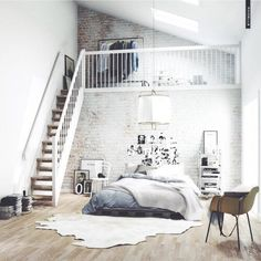 love this loft. #interior #design #loft #inspiration #frames #ikea #pelt #black #white #small #space #white #ideas