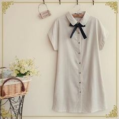 Buy Fairyland Tie-Neck Mini Shirtdress at YesStyle.com! Quality products at remarkable prices. FREE WORLDWIDE SHIPPING on orders over US$�35.