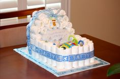Baby Shower Ideas. Diaper Cake for Boys