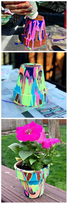Perfect for Mother's Day or end-of-year Teacher's gift – rainbow painted pour pots! DIY Mother's Day gifts from kids Perfect for Mother's Day or end-of-year Teacher's gift – rainbow painted pour pots! DIY Mother's Day gifts from kids Kids Crafts, Summer Crafts, Crafts To Do, Projects For Kids, Easy Crafts, Craft Projects, Arts And Crafts, Easy Diy, Craft Ideas