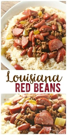 Red Beans and Rice with Ground Beef Easy dinner recipe, this Louisiana red beans and rice dish is hearty and filling with a flavorful and authentic Cajun taste that just needs a few minutes prep, then let it stew! Red Beans And Rice Recipe Crockpot, Red Bean And Rice Recipe, Slow Cooker Red Beans, Louisiana Red Beans And Rice Recipe, Recipes With Red Beans, New Orleans Red Beans And Rice Recipe, Authentic Red Beans And Rice Recipe, Red Beans And Sausage Recipe, Ground Beef Sausage Recipe