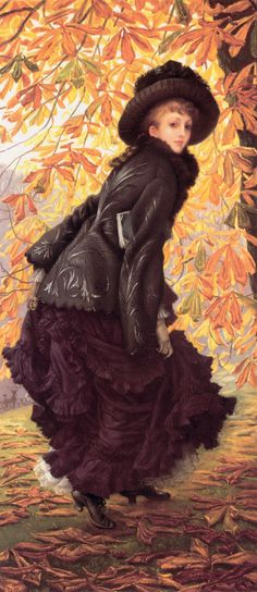 James Tissot, October, 1878. A tall, striking painting.     Seen at the special exposition, L'Impressionisme et la mode (Impressionism and Fashion), Musée d'Orsay, Paris, November 2012.
