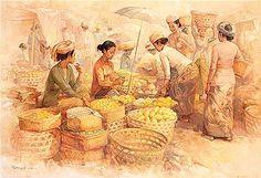 ideas fruit market art for 2019 Indonesian Art, Art Village, Indian Art Paintings, Life Paint, Carving Designs, Art Auction, Vintage Posters, Art Sketches, Amazing Photography