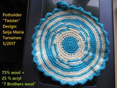 "Kasin virkattu tukeva patalappu. Hand made sold potholder ""Twister""."