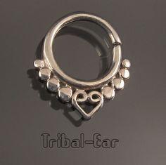 Septum piercing boucle nez nose ring silver real nofake septums Tribal Ear 019