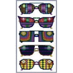 """Don't Forget Your Summer Shades! Summer+Fun+Glasses+Counted+Cross+Stitch+Kit-6.125""""X11""""+16+Count"""