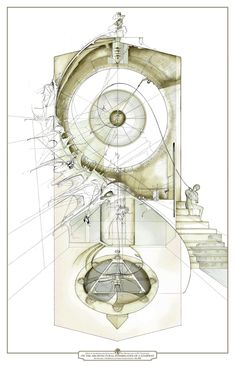"""On the Architectural Possibilities of a Stairway"" Love the techno-pen & color wash style and this artist, Dan Slavinsky, does it better than most. So many more great images in this series - check out his site."