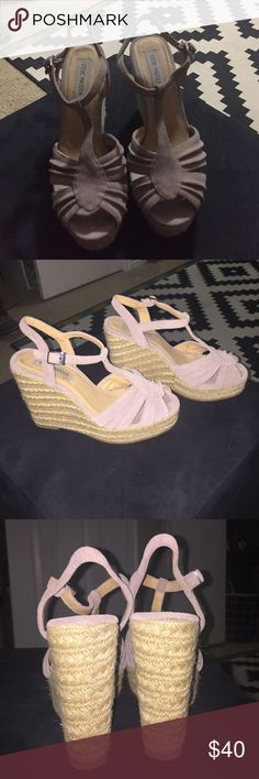 Steve Madden wedge sandals Gently used Steve Madden wedges. Mauve colored suede strapped sandal. Great condition and a neutral staple! Steve Madden Shoes Wedges