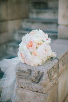 Bridal Bouquet Garden Roses Sherbet Peonies White Cream Pink Blush