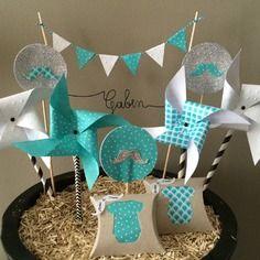 Cake toppers decoration prenom moulin a vent moustache anniversaire bapteme…