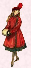 Girl wearing red coat and tam oshanter hat 1916.