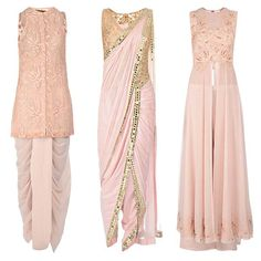 Beautiful Blush! Neeta Lulla's modern exquisite collection with intricate mirror work & floral details.
