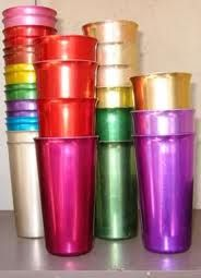 Metal Tumblers - My grandparents had these and a pitcher to match.  I hated them.  They made my teeth hurt!
