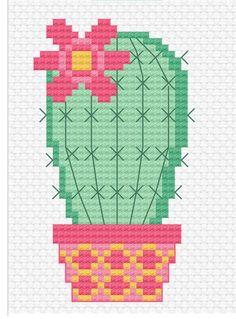 Modern Cross Stitch - Sweet Little Cactus Cross Stitch Pattern by Tiny Modernist. - Modern Cross Stitch – Sweet Little Cactus Cross Stitch Pattern by Tiny Modernist – Punto de cr - Cactus Cross Stitch, Small Cross Stitch, Cross Stitch Borders, Modern Cross Stitch, Cross Stitch Flowers, Cross Stitch Designs, Cross Stitching, Easy Cross Stitch Patterns, Embroidery Art