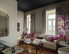 living rooms - gray curtains, gray drapes, fuchsia pillows, venetian mirror, black ceiling, living room black ceiling, living room with blac...