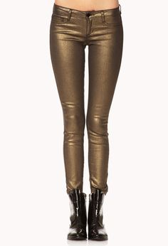 Super cute metallic gold jeans from Forever 21!!! Pair them with black combat boots, army jacket, and a lacey shirt!! What do you think? Do yah like this for fall???